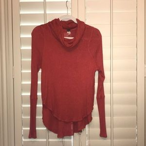 Soft high low turtle neck sweater